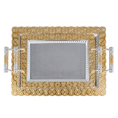 Alpine Cuisine 14 & 18 Silver Plated with Gold Trim 2-Piece Serving Tray Set; Gold (KAST12983)