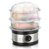 Elite 8.5-Quart Food Steamer with 3 Stackable Trays; Gray/Silver (KM2301)