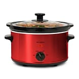 Elite 2-Quart Stainless Steel Oval Slow Cooker with 3 Heat Settings; Red (KM275XR)