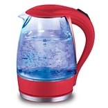Elite Cordless Drip free Glass Electric Kettle with Automatic Pop-Up Lid 1.7-L; Red (KM300R)