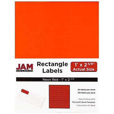 JAM Paper® Mailing Address Labels, 1 x 2 5/8, Neon Red, 120/pack (354328230)
