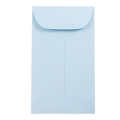 JAM Paper® #3 Coin Business Envelopes, 2.5 x 4.25, Baby Blue, 100/Pack (356730542B)
