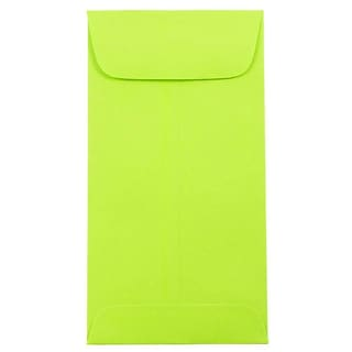 JAM Paper® #7 Coin Business Colored Envelopes, 3.5 x 6.5, Ultra Lime Green, 25/Pack (1526752)