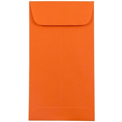 JAM Paper® #7 Coin Envelopes, 3 3/8 x 6, Brite Hue Orange Recycled, 500/box (1526755H)