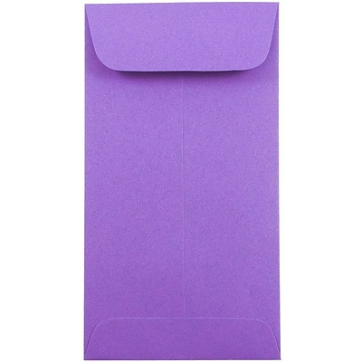 JAM Paper® #7 Coin Envelopes, 6.5 x 3.5, Brite Hue Violet Purple, 25/pack (1526758)