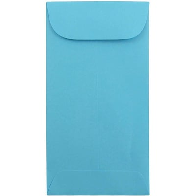 JAM Paper® #7 Coin Business Colored Envelopes, 3.5 x 6.5, Blue Recycled, Bulk 500/Box (1526764H)