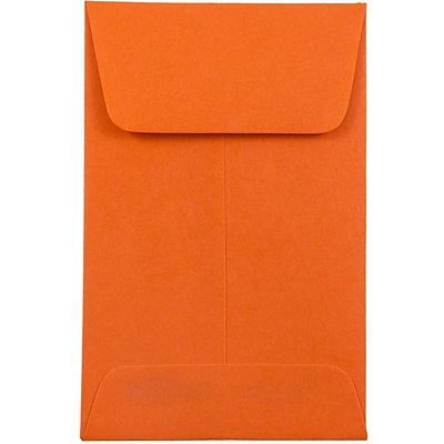 JAM Paper® #1 Coin Envelopes, 2.25 x 3.5, Brite Hue Orange Recycled, 1000/carton (352627815C)