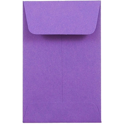 JAM Paper® #1 Coin Envelopes, 2.25 x 3.5, Gravity Grape Purple, 50/Pack (353027837I)