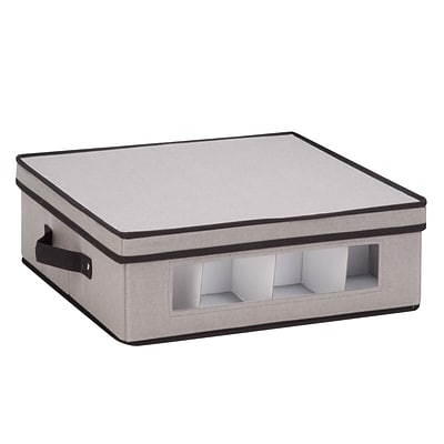 Honey Can Do Dinnerware Storage Box,  16.5 x 14.25 x 5.75, Gray Canvas - cups