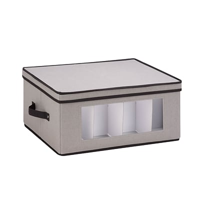 Honey Can Do Dinnerware Storage Box, 18.5 x 14 x 8.5, Gray Canvas - balloon style wine glasses