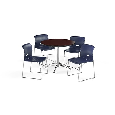 OFM 36 Round Laminate Multi-Purpose Table w/4 Chairs, Mahogany Table/Navy Chair (PKG-BRK-094-0012)