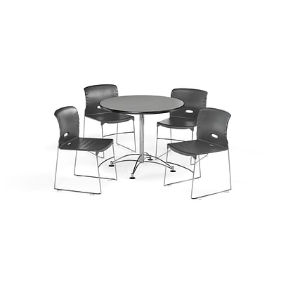 OFM 36 Round Laminate Multi-Purpose Table & 4 Chairs, Gray Table/Dark Gray Chair (PKG-BRK-094-0006)