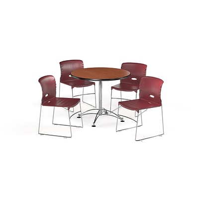OFM 36 Round Laminate MultiPurpose Table w/4 Chairs, Cherry Table/Burgundy Chair (PKG-BRK-094-0003)