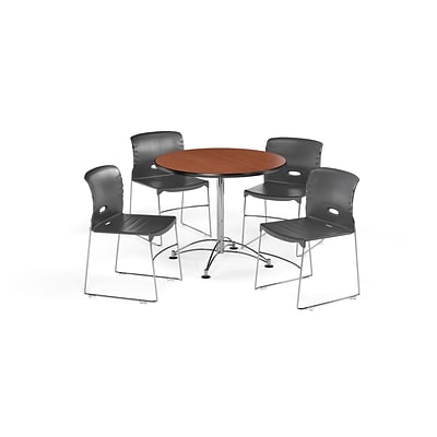 OFM 36 Round Laminate MultiPurpose Table & 4 Chairs, Cherry Table/Dark Gray Chair PKG-BRK-094-0002