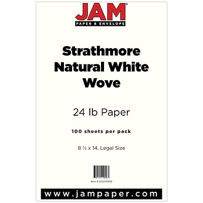 JAM Paper® Strathmore Legal Paper - 8.5 x 14 - 24lb Natural White Wove - 100/pack
