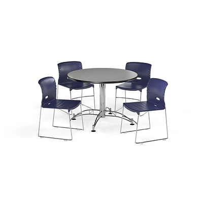 OFM 42 Round Laminate MultiPurpose Table & 4 Chairs, Gray Nebula Table/Navy Chair PKG-BRK-106-0008