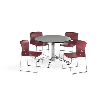 OFM 42 Round Laminate Multi-Purpose Table & 4 Chairs, Gray Table/Burgundy Chair (PKG-BRK-106-0007)