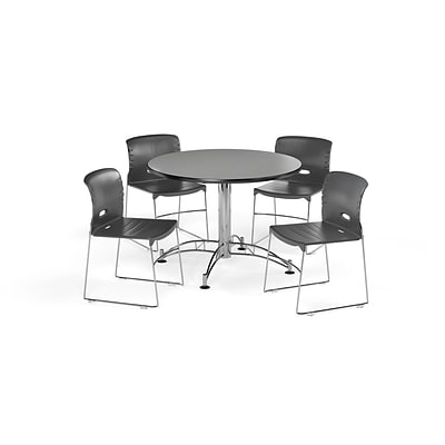 OFM 42 Round Laminate Multi-Purpose Table & 4 Chairs, Gray Table/Dark Gray Chair (PKG-BRK-106-0006)