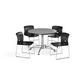 OFM 42 Round Laminate MultiPurpose Table & 4 Chairs, Gray Nebula Table/Black Chair PKG-BRK-106-0005