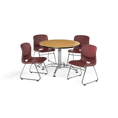 OFM 42 Round Laminate Multi-Purpose Table with 4 Chairs, Oak Table/Wine Chair (PKG-BRK-105-0017)