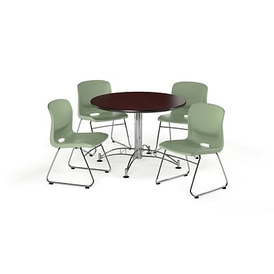 OFM 42 Round Laminate Multi-Purpose Table w/4 Chairs, Mahogany Table/Olive Chair (PKG-BRK-105-0014)