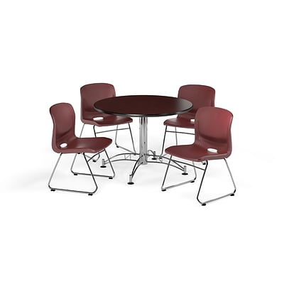 OFM 42 Round Laminate Multi-Purpose Table w/4 Chairs, Mahogany Table/Wine Chair (PKG-BRK-105-0012)