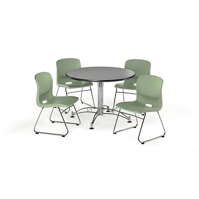 OFM 42 Round Laminate MultiPurpose Table & 4 Chairs, Gray Nebula Table/Olive Chair PKG-BRK-105-0009