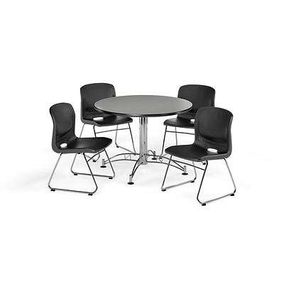 OFM 42 Round Laminate MultiPurpose Table & 4 Chairs, Gray Nebula Table/Black Chair PKG-BRK-105-0006
