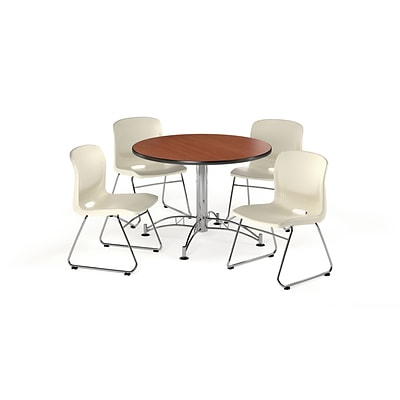OFM 42 Round Laminate Multi-Purpose Table w/4 Chairs, Cherry Table/Ivory Chair (PKG-BRK-105-0005)