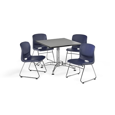 OFM 42 Square Laminate MultiPurpose Table & 4 Chairs, Gray Nebula Table/Navy Chair PKG-BRK-111-0008