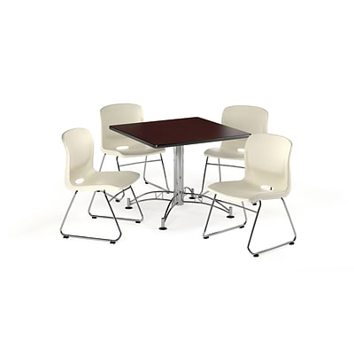OFM 36 Square Laminate MultiPurpose Table w/4 Chairs, Mahogany Table/Ivory Chair (PKG-BRK-099-0015)