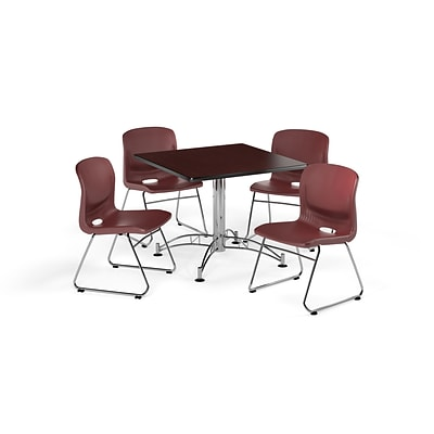 OFM  42 Square Laminate MultiPurpose Table w/4 Chairs, Mahogany Table/Wine Chair (PKG-BRK-111-0012)