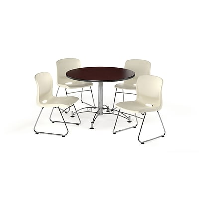 OFM 42 Round Laminate Multi-Purpose Table w/4 Chairs, Mahogany Table/Ivory Chair (PKG-BRK-105-0015)