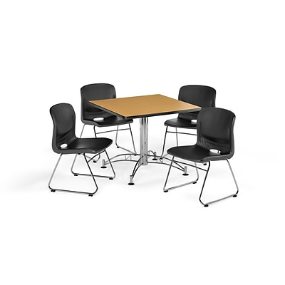OFM 42 Square Laminate Multi-Purpose Table with 4 Chairs, Oak Table/Black Chair (PKG-BRK-111-0016)