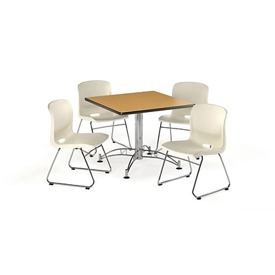 OFM 36 Square Laminate Multi-Purpose Table with 4 Chairs, Oak Table/Ivory Chair (PKG-BRK-099-0020)