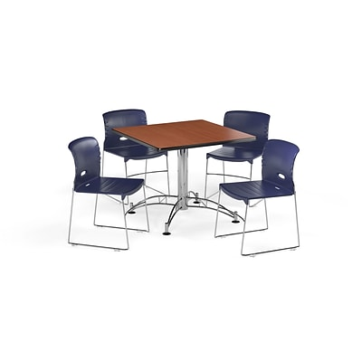 OFM 36 Square Laminate Multi-Purpose Table w/4 Chairs, Cherry Table/Navy Chair (PKG-BRK-100-0004)