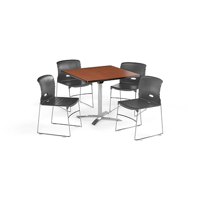 OFM 36 Sq Laminate MultiPurpose FlipTop Table & 4 Chairs, Cherry/Dark Gray Chair PKGBRK0760002