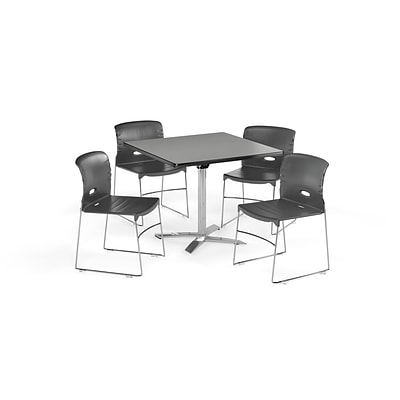 OFM 42 Square Laminate MultiPurpose FlipTop Table & 4 Chairs, Gray Table/Gray Chair PKGBRK0880006