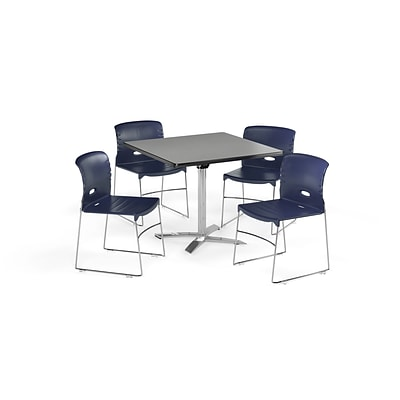 OFM 42 Square Laminate MultiPurpose FlipTop Table & 4 Chairs, Gray Table/Navy Chair (PKGBRK0880008)