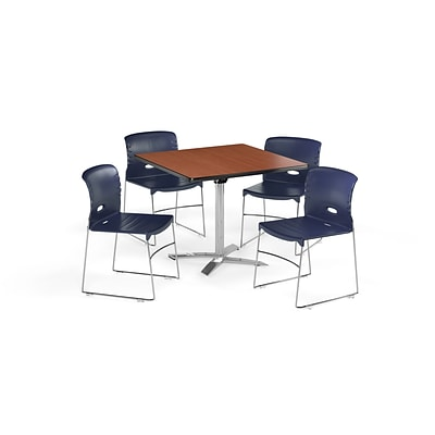 OFM 36 Square Laminate MultiPurpose FlipTop Table & 4 Chairs, Cherry Table/Navy Chair PKGBRK0760004