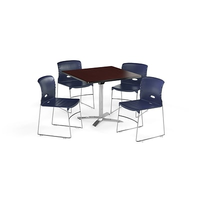 OFM 42 Sq Laminate MultiPurpose FlipTop Table & 4 Chairs, Mahogany Table/Navy Chair (PKGBRK0880012)