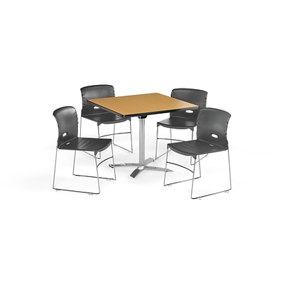 OFM 36 Square Laminate MultiPurpose FlipTop Table & 4 Chairs, Table/Dark Gray Chair (PKGBRK0760014)