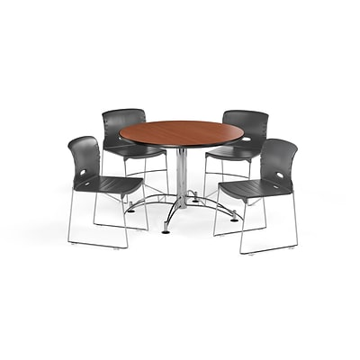 OFM  42 Round Laminate MultiPurpose Table & 4 Chairs, Cherry Table/Dark Gray Chair PKG-BRK-106-0002