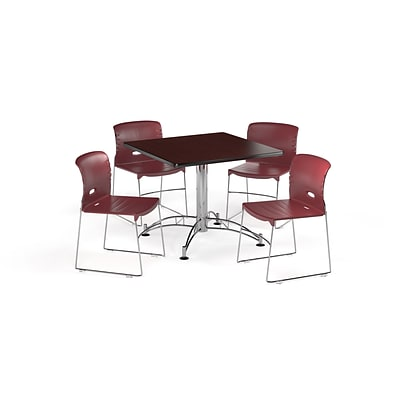 OFM 42 Square Laminate MultiPurpose Table & 4 Chairs, Mahogany Table/Burgundy Chair (PKGBRK1120011)
