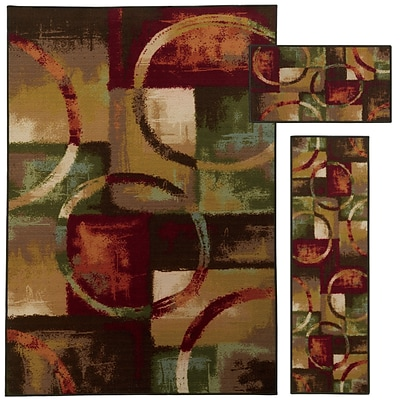 StyleHaven Contemp Geometric Nylon 51X76, 16X5, 16X28 Red/Multi Area Rug (WMNR481213PCL)