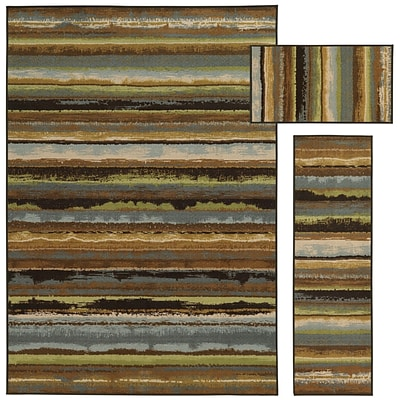 StyleHaven Eroded Stripes Nylon 51X76; 16X5, 16X28 Beige/Blue Area Rug (WMNR642143PCL)