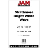 JAM Paper® Ledger Strathmore 24lb Paper, 11 x 17 Tabloid, Bright White Wove, 100 Sheets/Pack (517470