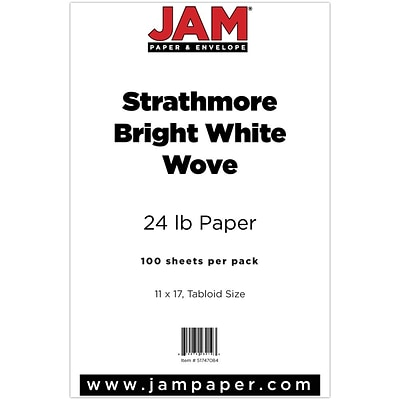 JAM Paper® Ledger Strathmore 24lb Paper, 11 x 17 Tabloid, Bright White Wove, 100 Sheets/Pack (51747084)