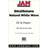 JAM Paper® Ledger Strathmore 24lb Paper, 11 x 17 Tabloid, Natural White Wove, 100 Sheets/Pack (20392