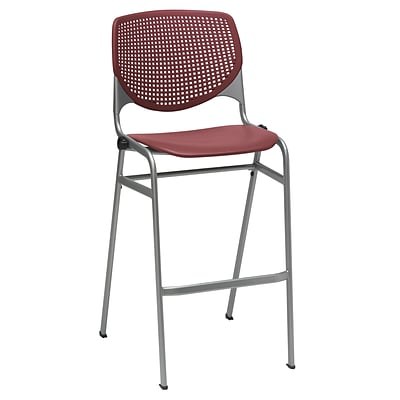 KFI KOOL Series 30 Seat Height Poly Stool in Burgundy with perforated back (BR2300-P07)
